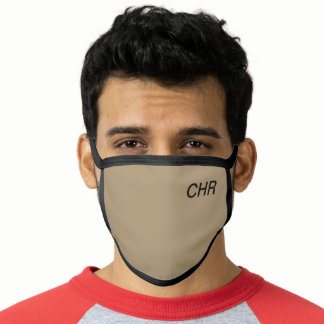 Khaki with Black Initials Face Mask