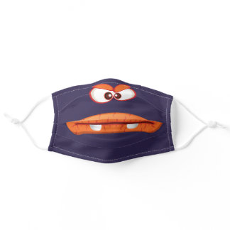 Kids Cartoon Orange Monster Eyes and Mouth Adult Cloth Face Mask