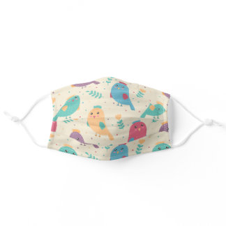Kids Colorful Birds w/ Tulips Reusable Washable Adult Cloth Face Mask
