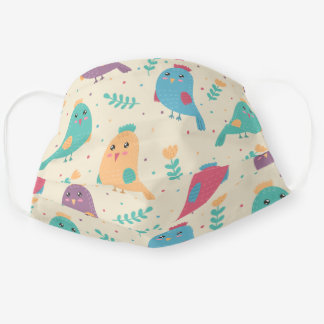 Kids Colorful Birds w/ Tulips Reusable Washable Cloth Face Mask