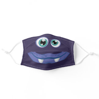 Kids Happy Cartoon Blue Eyed and Mouth Monster Adult Cloth Face Mask