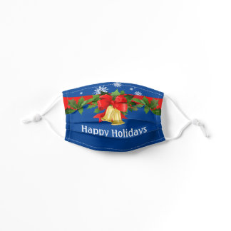 KIDS Happy Holidays Festive Bow Bells in Blue Kids' Cloth Face Mask