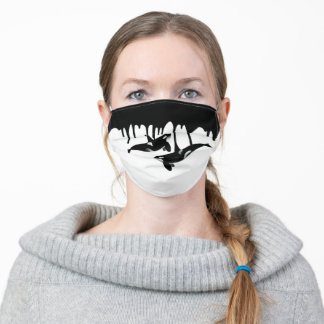 Killer Whale Orca Fun Paint Drips Adult Cloth Face Mask