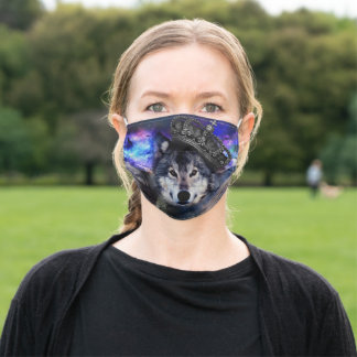 king wolf - crown wolf - grey wolf adult cloth face mask