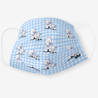 KiniArt Bichon Frise Gingham Cloth Face Mask