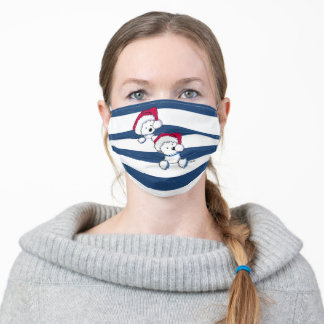 KiniArt Christmas Westies In Stripes Adult Cloth Face Mask