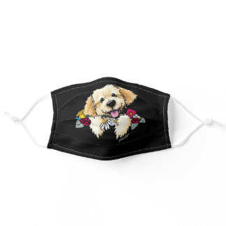 KiniArt Golden Retriever In Flowers Adult Cloth Face Mask