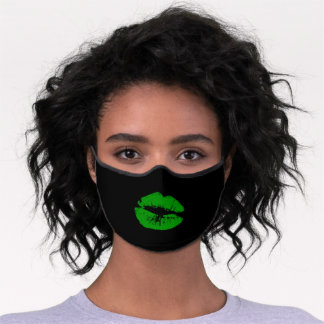 Kiss green lips mouth premium face mask