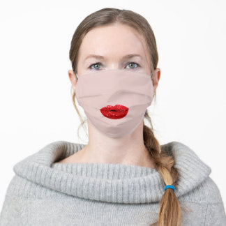 Kiss Lips GIRLY Red Lipstic Glitter Effect Adult Cloth Face Mask