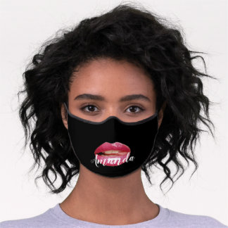Kiss Lips Pink Name Girly Black Premium Face Mask