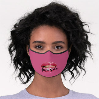 Kiss Lips Rose Berry Pink Name Holograph Premium Face Mask