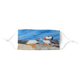 Kissing Puffins Adult Cloth Face Mask