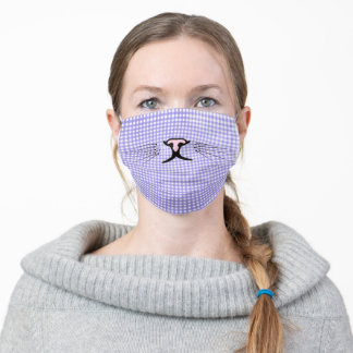 kitty face on purple gingham adult cloth face mask