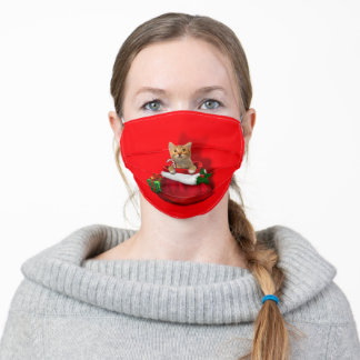 Kitty in a Christmas Bag Adult Cloth Face Mask