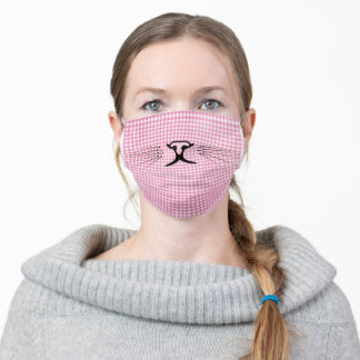 kitty nose on pink gingham adult cloth face mask
