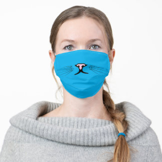 kitty whiskers on aqua blue adult cloth face mask