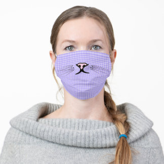 kitty whiskers on purple gingham adult cloth face mask