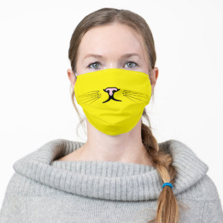 kitty whiskers on yellow adult cloth face mask