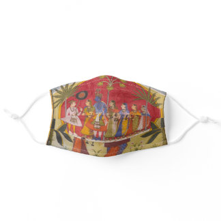 Krishna, Radha, and the Gopis Meet a Young Prince, Adult Cloth Face Mask