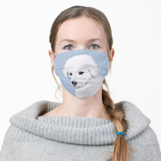 Kuvasz Painting - Cute Original Dog Art Adult Cloth Face Mask
