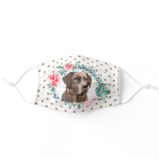Labrador brown rose wreath pattern adult cloth  adult cloth face mask