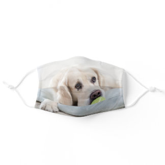 Labrador Cute Dog Puppy and a Tennis Ball Sport Adult Cloth Face Mask