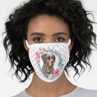 Labrador retriever brown rose polka dot pattern  face mask
