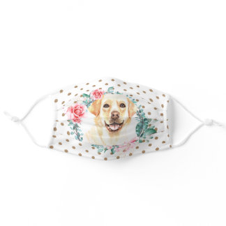 Labrador retriever watercolor rose wreath pattern adult cloth face mask