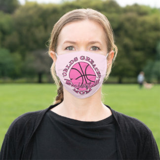 Ladies Pink Worlds Greatest Basketball Mom Adult Cloth Face Mask