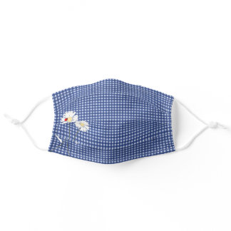 lady bug on daisy blue gingham adult cloth face mask