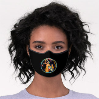 Lady in Yellow Dress Picking Cherry Blossoms Black Premium Face Mask