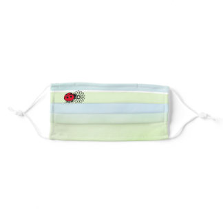Ladybug with Flowers on Bands of Blue and Green Adult Cloth Face Mask