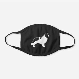 Landseer Newfoundland Dog Breed Silhouette Black Cotton Face Mask