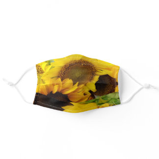 Large golden yellow sunflowers photograph adult cloth face mask