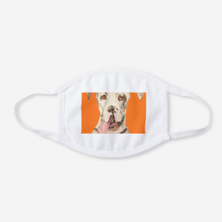Large Great Dane with Black Spots White Cotton Face Mask