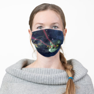 Laser cat with glasses in space adult cloth face mask