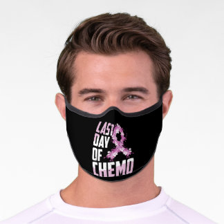 Last Day Of Chemo Survivor Breast Cancer Awareness Premium Face Mask
