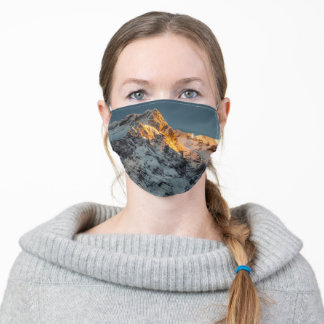 Last light before sunset on mountains adult cloth face mask