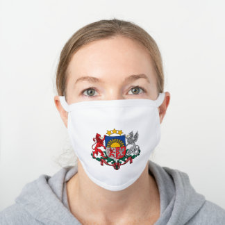 Latvian coat of arms white cotton face mask