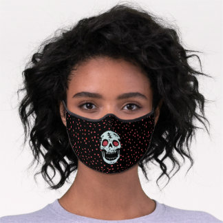 Laughing White Skull Faux Glitter eyes Red Dots Premium Face Mask
