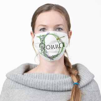 Lavender eucalyptus watercolor painting dragonfly adult cloth face mask