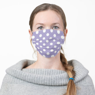 Lavender Purple and White Large Polka Dot Pattern Adult Cloth Face Mask