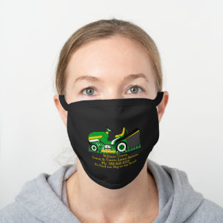 Lawn Mower Lawn | Landscaping Services Name Black Cotton Face Mask