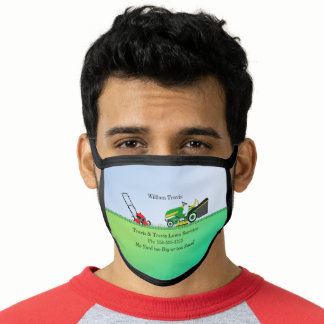 Lawn Mower Lawn | Landscaping Services Name Face Mask