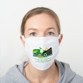 Lawn Mower Lawn | Landscaping Services Name White Cotton Face Mask