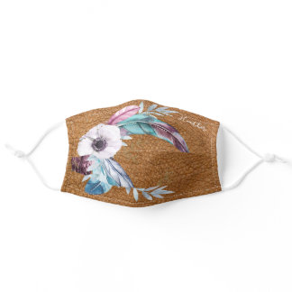 Leather-Look Boho Feathers Mask (With Your Name)