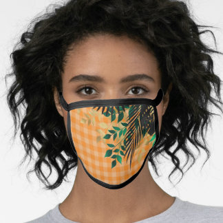 Leaves on Gingham Face Mask