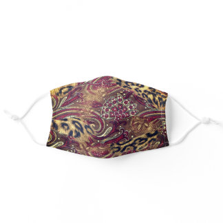 Leopard and Paisley Print Purple Brown Adult Cloth Face Mask