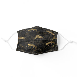 Leopard Black and Gold Pattern Adult Cloth Face Mask