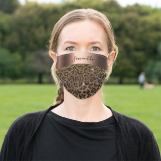 Leopard black brown glam bronze name adult cloth face mask